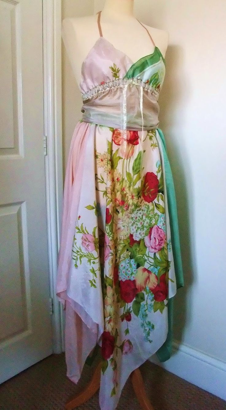 Upcycled scarves - Have just stitched a bundle of vintage silk scarves into this romantic halter top & skirt outfit, K.