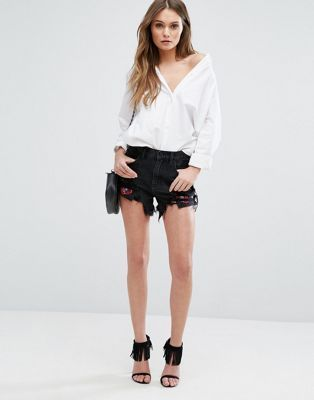 Blank NYC Denim Shorts with Embroidered Rips