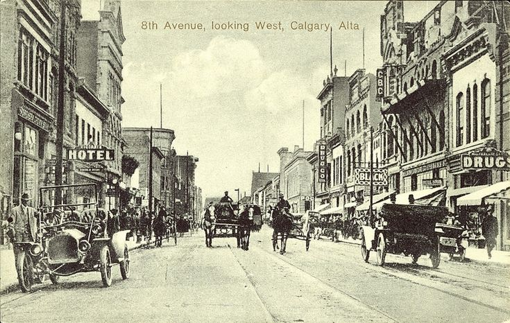 Postcard 5469: The H. Enida Olive Co'y Ltd, 8th Avenue, looking West, Calgary, Alberta. ([before 1920])