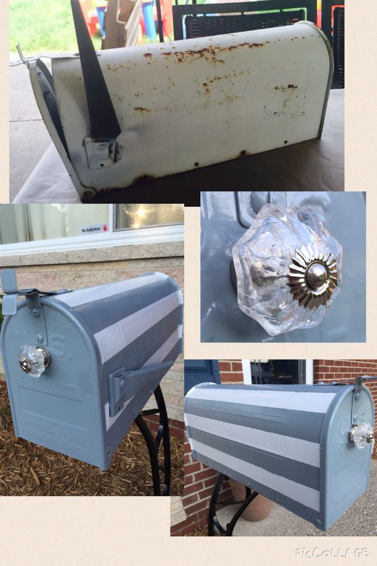 Mailbox makeover. Gray and white painted Stripes and crystal knob from #hobbylobby