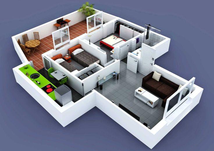 Planos 3d casas buscar con google la casa de mis for Maquetas de apartamentos modernos