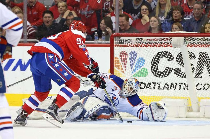 Cam can save:    Edmonton Oilers goalie Cam Talbot makes a save on Washington Capitals center Evgeny Kuznetsov in the first period at Verizon Center in  Washington on Feb. 24. Washington won 2‐1.