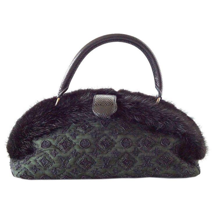 Louis Vuitton bag limited edition Demilune Mousseline Long Vert mink snake trim