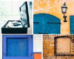 Apensar puerta azul en fachada amarilla - A-Pensar.org