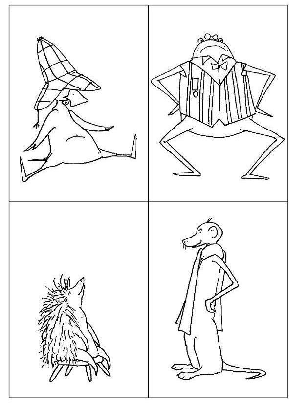 Kleurplaat  van de figuren uit het verhaal van eend.