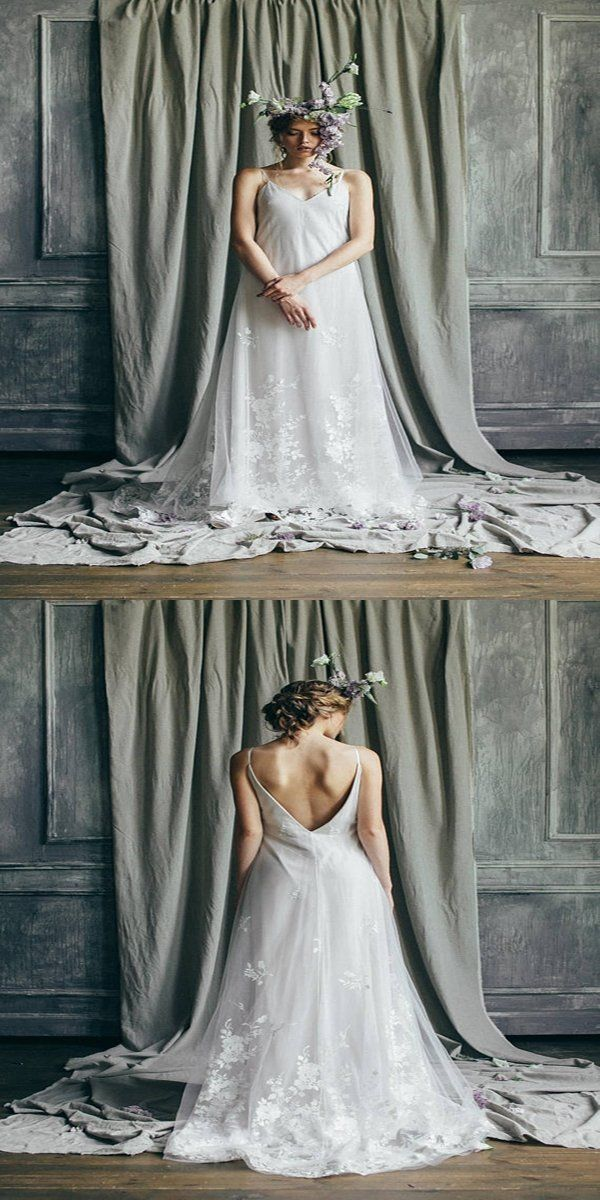 New A-Line Open Back V-Neck Sequin Sleeveless Long Beach Wedding Dresses Online,VPWD181