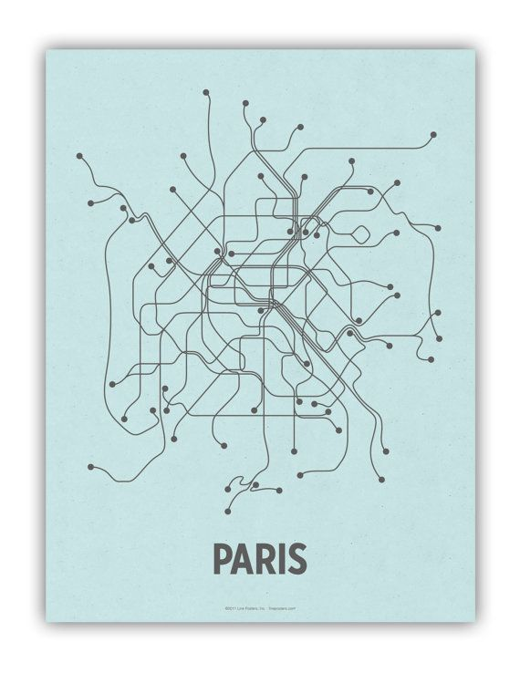 """18"""" x 24"""" Paris Screen Print. Handmade in Brooklyn, NY.    French Paper Company's Sno-Cone 100# cover printed with dark gray ink."""