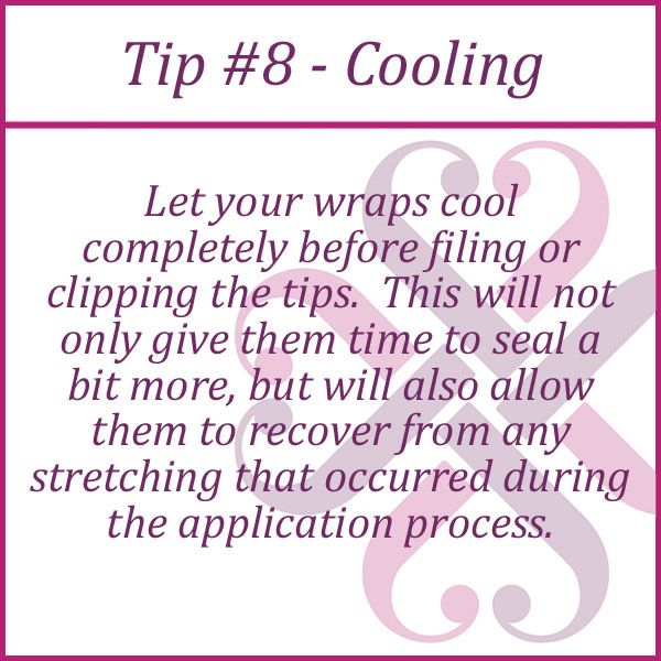 I do ALL of my Jamberry wraps on one hand and THEN go back and file the tips. That way, I know they have cooled!