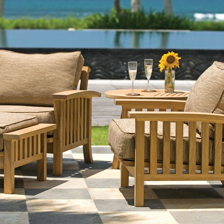 5 Piece Teak Outdoor Lounge Seating Set | Craftsman Collection | Thos. Baker