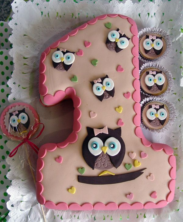 Owl Birthday Cake. How cute and could use any number.