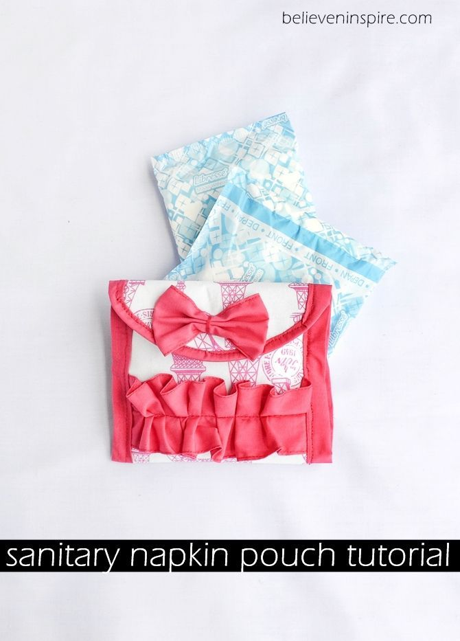 Make a sanitary napkin pouch to store your napkins separate from other components of bag. Makes a great gift idea, and is fairly quick to make.