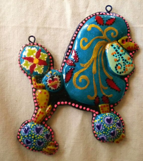Solstice the Standard Poodle Pendant- Day of the Dead Dog Clay Pendant