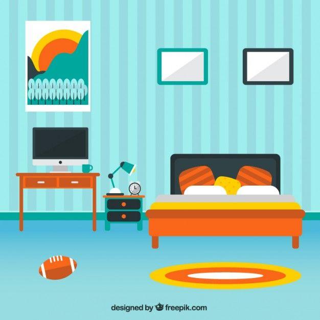 Modern Bedroom Decoration Free Vector BedroomsTeaching Resources Vectors