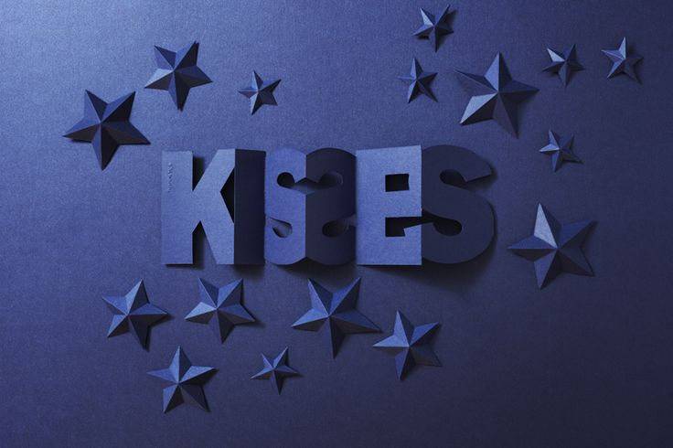 The word KISSES comes as card with envelope or as a hang tag from Punchline Tag