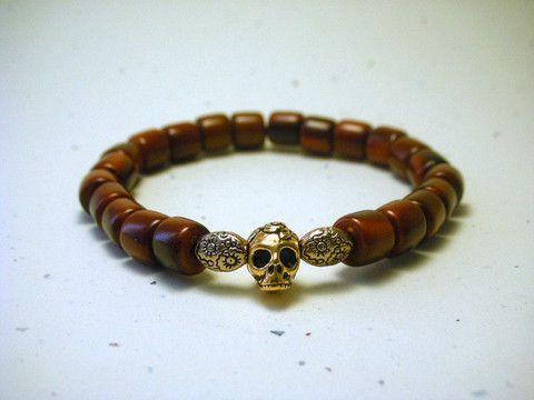 skull tagua nut bracelet- gold brown- stackable vegetable ivory, organic, ecofriendly bracelet – Mayoso