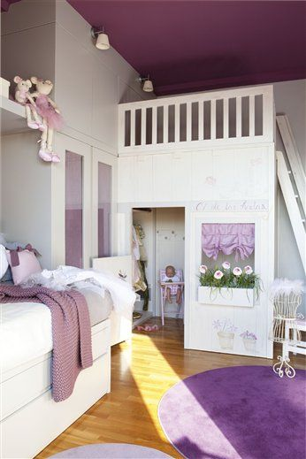 Loft bed with a walk-in play house! What's not to like?! The colours could be muted to pale yellow for baby girl & Seafoam green for baby boy...