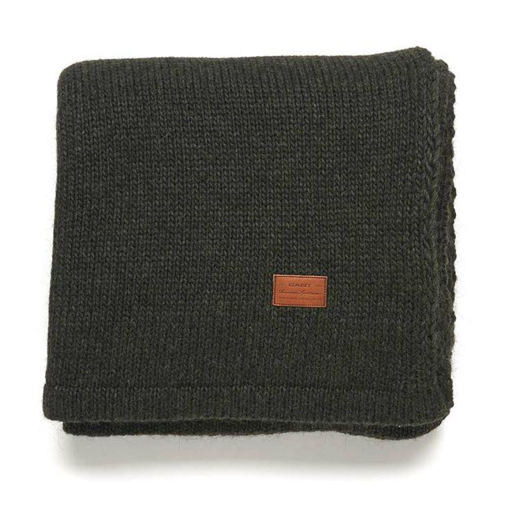 Gant Solid Knit Decke 150 x 200 cm ocean green