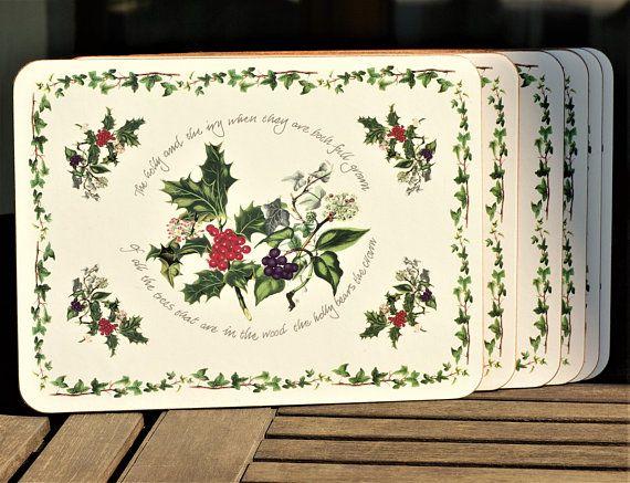 Christmas Placemats Cork Coaster Set 6 Placemats Floral Etsy Christmas Placemats Floral Placemats Cork Coasters