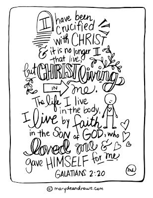 pray without ceasing coloring page - i have been crucified with christ galatians 2 20 printable