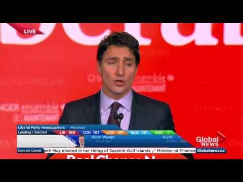 Federal Election 2015: Justin Trudeau's full acceptance speech following towering win - YouTube