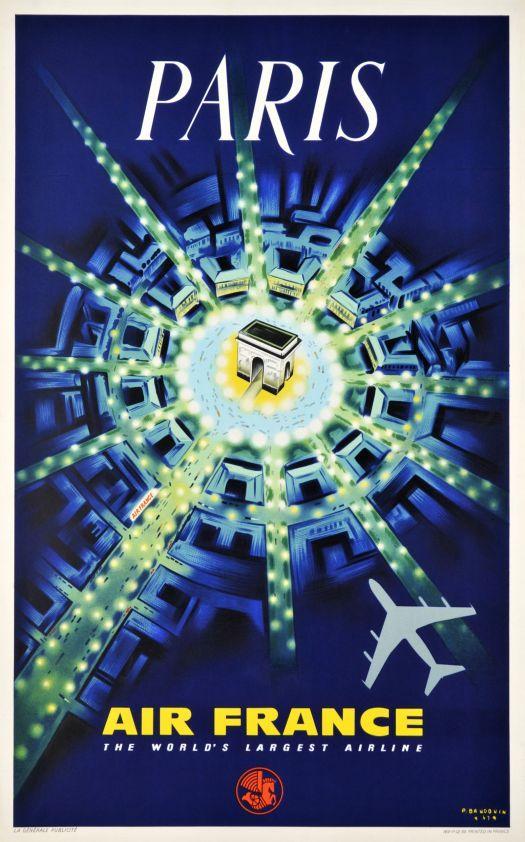 Air France Paris Poster La ville lumiere, le centre de l'haute couture. www.corsidimoda.it