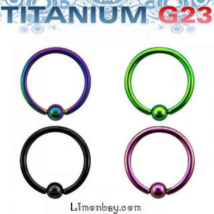 Aro cerrado de Titanio G23 con una bola. Varios diámetros. Grosor 1,2mm y distintos colores. Ideal como piercing de oreja o piercing de nariz, ceja, 3.31