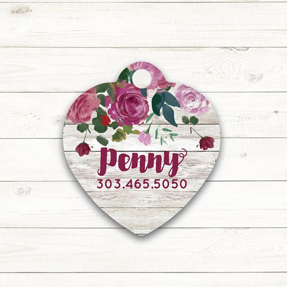 Custom Pet ID Tag Heart Tag Rose Rustic Wood Dog Tags Cat ID Tag Personalized Pet Identification Pet Gift Floral Flowers Red Purple Pink $9.99+ #affiliate