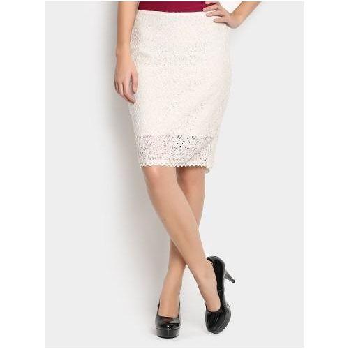 f410568642 abof Women Off-white Lace Pencil Regular Fit Skirt #Looksgud #White  #lPencil #cotton-nylon   World Of Skirt   Skirts, Fitted skirt, White lace