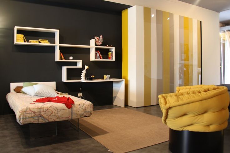Chic Teenager Bedroom Interior Design with Floating Bed Concept