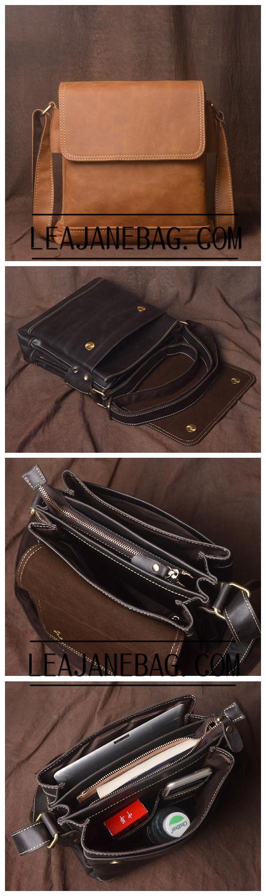 Genuine Leather Messenger Bag, Leather Crossbody Bag for Men, JZ013