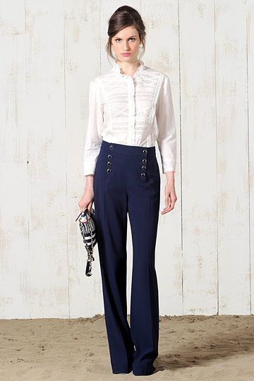 Navy Sailor Pants + White Shirt. Not quite what I want but still like it