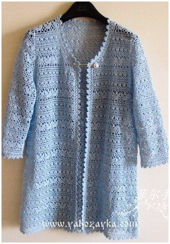 Кардиган крючком.   Chart.  Could make into light cardi or enlarge for oversized tunic