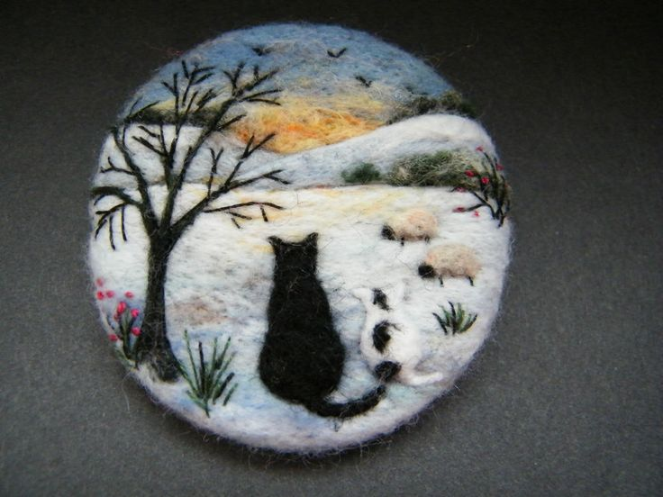 Handmade needle felted brooch 'Scaredy and Kitt ........ ' by Tracey Dunn in Crafts, Hand-Crafted Items | eBay