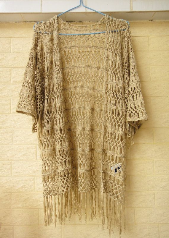 Fringe Kimono Cardigan Plus Size Boho Beach by Tinacrochetstudio