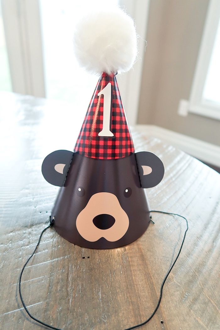 Lumberjack bear party hat from a Baby Bear Lumberjack Birthday Party on Kara's Party Ideas | KarasPartyIdeas.com (29)