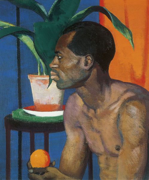 Francis Campbell Boileau Cadell  Man with Orange 1920: Cadell uses very warm colouring throughout this painting. The background colours effectively go together well creating a more eye catching painting. The overall design is quite simple but effective. The background shapes are very simply designed with no patterns or detail. The main shapes are quite large which contradict with the small orange.