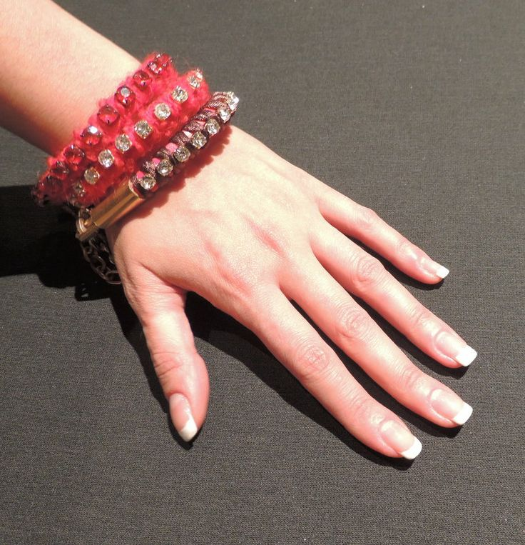 Handmade bracelets with strass.