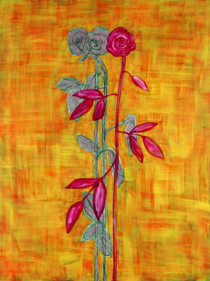 Markus Konttinen, Ruusu ja ruusut, 2001, 220x130cm, kuva:Matti Ruotsalainen, Oulun Taidemuseo