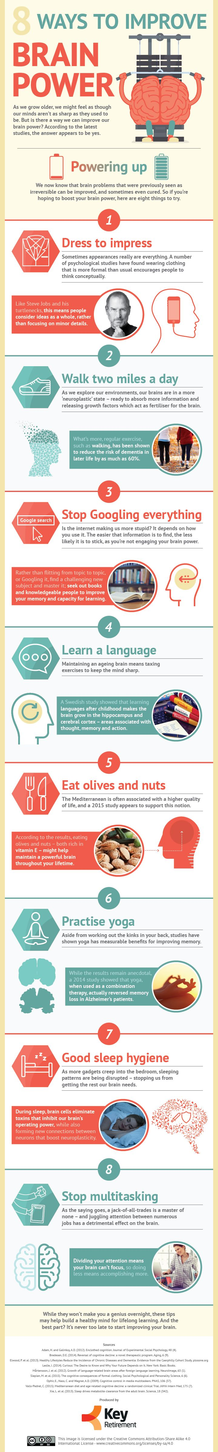 8 Ways To Improve Brain Power - Infographic