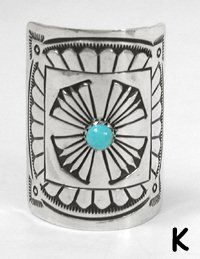 Authentic Native American Sterling Silver and Turquoise Pony Tail Cover by Navajo Jenny Blackgoat