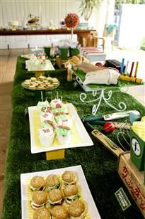 Cricket party...some fun ideas here for reception area