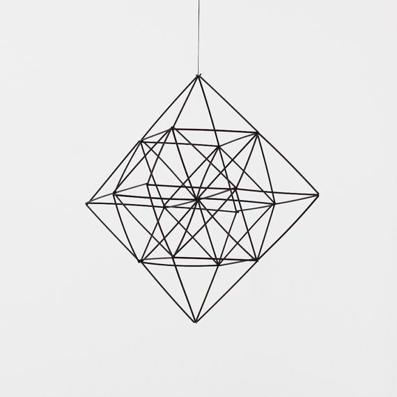 Himmeli Diamond / Rigid Straw / Modern Hanging Mobile / Geometric Sculpture / Minimalist Home Decor