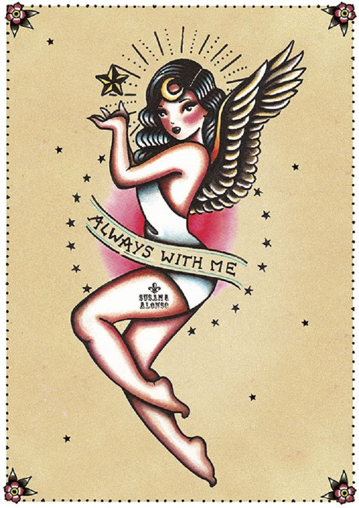 Title: Always With Me Artist: Susana Alonso A colorful tattooed angel perfect for your wall! Susana Alonso's artwork encompasses pin-ups, sexy burlesque style ladies, and tattoo themes - which is no s