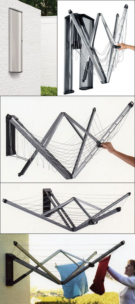 Brabantia's Wallfix fold-away drying rack... folds completely out of the way #design #innovation http://amzn.to/2pfvyHP http://amzn.to/2spCmml