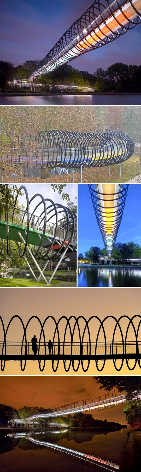 """CollabCubed has this post on """"The Slinky Springs Bridge"""" in Oberhausen, Germany. The bridge was designed by artist Tobias Rehberger and Schlaich Bergermann and Partner, and was inspired by — you guessed it — the iconic Slinky toy."""