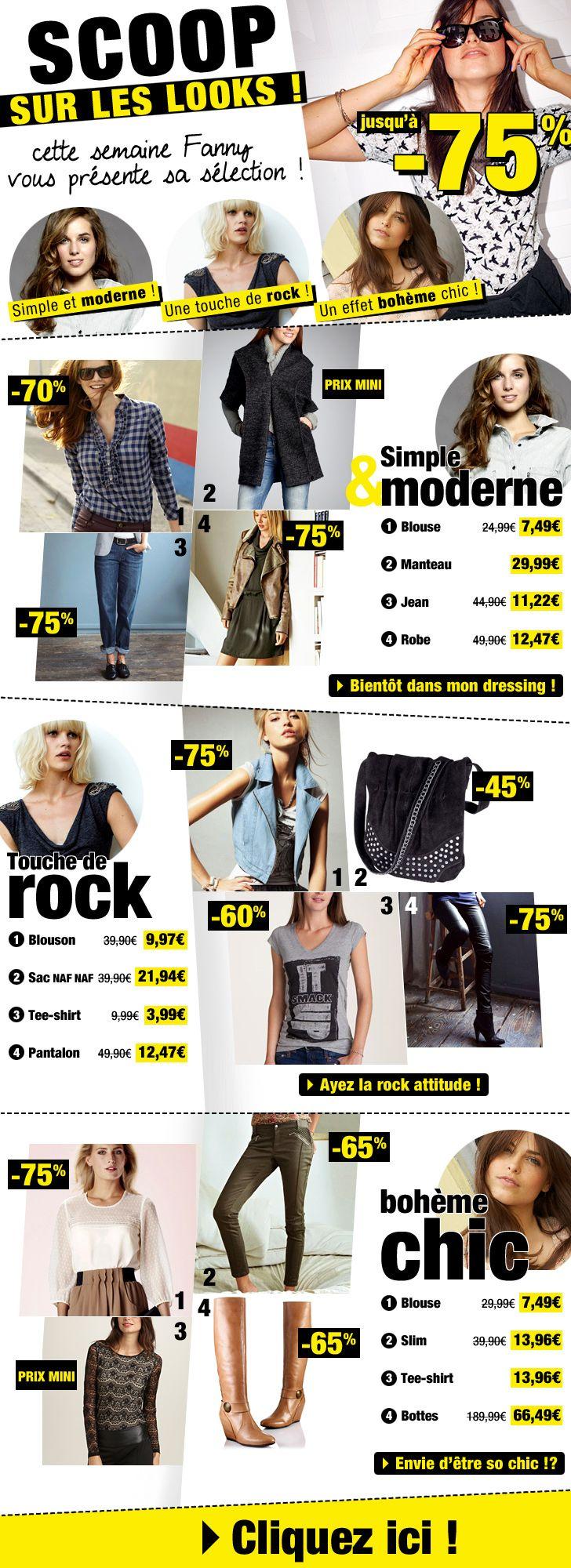 Scoop sur les looks ! 1 - boutique avec 3 sous-thématiques mode femme façon magazine / Octobre 2013 / Excedence.com  #emailretail #excedence  #EmailMarketing #DigitalMarketing #EmailDesign #EmailTemplate #SocialMedia #EmailNewsletters #EmailRetail #excedence #destockagemode