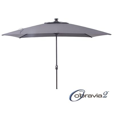 Simply Shade 7-ft x 10.5-ft Grey Rectangular Deluxe Market Umbrella with LED Lights