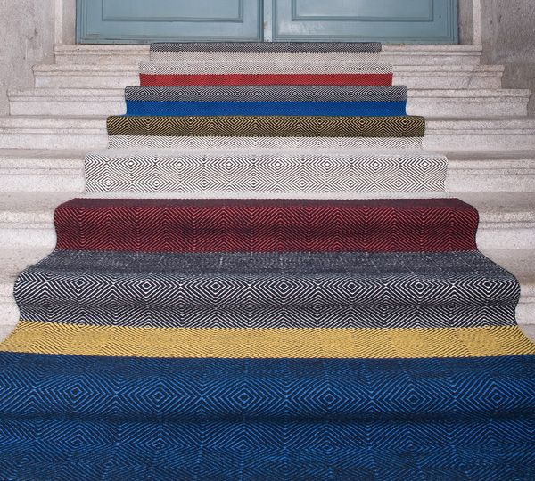 CAVALCANTI   Diamond & Chevron. Flat woven bespoke rugs and Stair runners. 100% New Zealand Wool. Contract Quality. Available in bespoke colours and sizes.