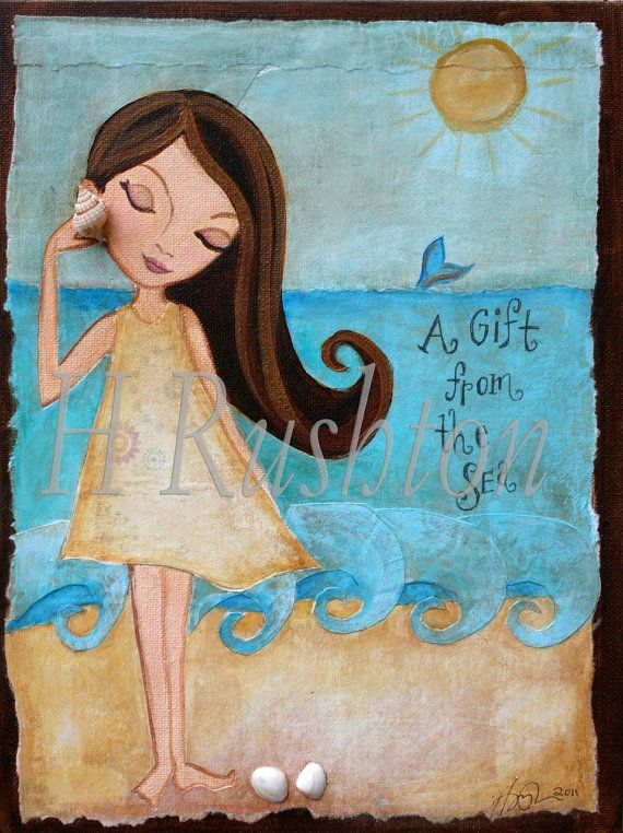 Children Decor Beach Cottage Decor Girls Room Kids Wall Art Mixed