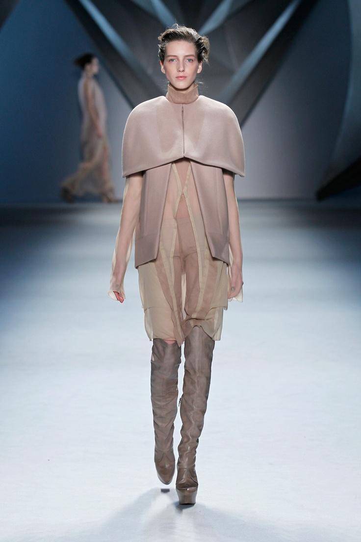 VW Nude melton cape jacket over nude silk chiffon long